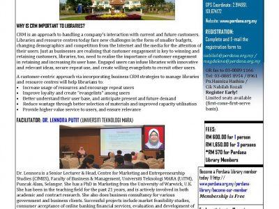 WORKSHOP ON CUSTOMER RELATIONSHIP MANAGEMENT (CRM) FOR SERVICE EXCELLENCE