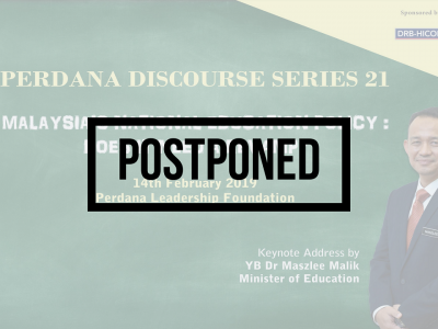 [POSTPONED] PDS 21: MALAYSIA'S NATIONAL EDUCATION POLICY: DOES IT NEED A REVAMP?